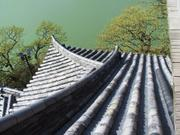 Tiles and river, Inuyama Castle, Aichi-ken, Japan, photo