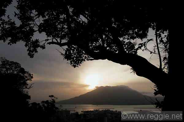 Sunrise over Sakurajima, Kagoshima prefecture, Japan, photo