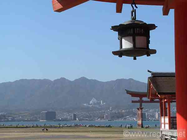 Torii and Lantern, Itsukushima Shrine, Miyajima, Hiroshima-ken, Japan, photo