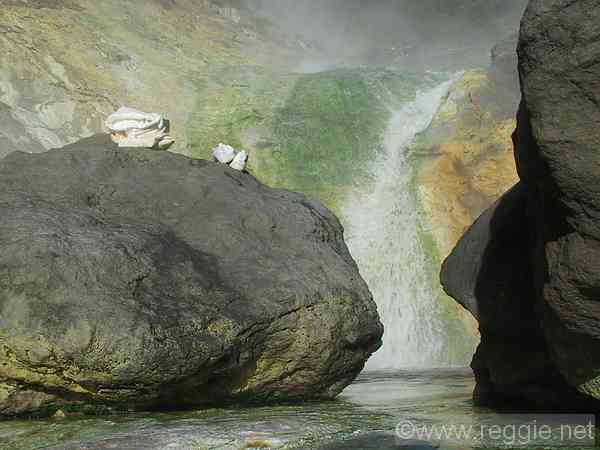 Waterfall and rocks, Kamuiwakka waterfall hot spring, Shiretoko peninsula, Hokkaido, Japan, photo