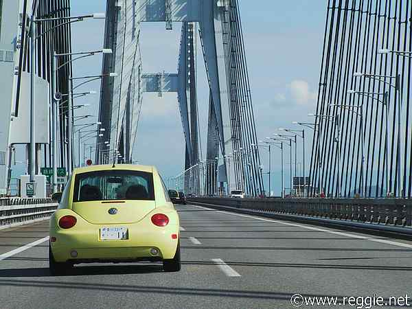 VW on Seto Bridge, Kagawa-ken, Japan, photo