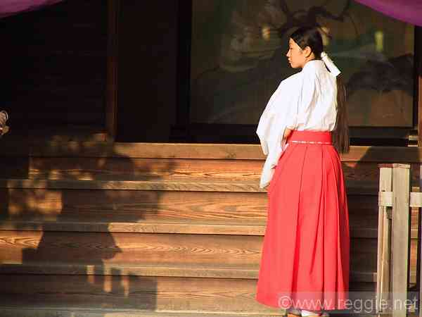 Shrine lady, Yasaka shrine, Kyoto, Japan, photo