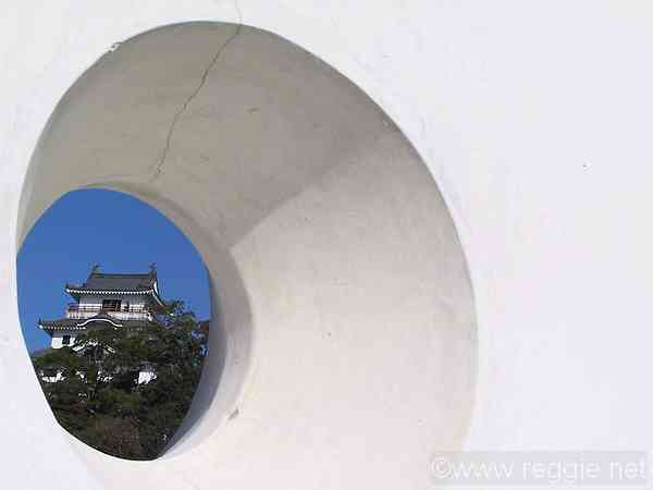 Karatsu castle through hole in wall, Karatsu, Saga-ken, Japan, photo