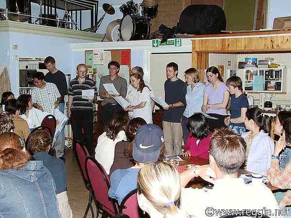 Mud, glorious mud, by English team members, International talent evening, 12th June 2003, photo