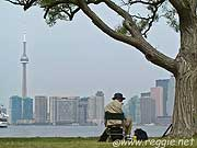 Painter on Ward\'s Island, looking to CN Tower, Toronto, Ontario, Canada, photo