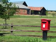Postbox and farm, Bartlow, Cambridgeshire, England, photo