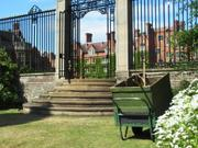 Gate to main court, Selwyn College, Cambridge, England, photo