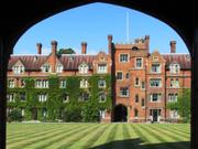 Main entrance from chapel, Selwyn College, Cambridge, England, photo