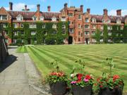Main court flower pots, Selwyn College, Cambridge, England, photo