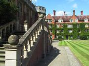 Steps to hall, Selwyn College, Cambridge, England, photo