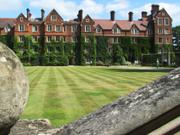 Main court lawns, Selwyn College, Cambridge, England, photo