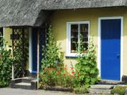 Blue doors, Thatched cottage, Fowlmere, Cambridgeshire, England, photo