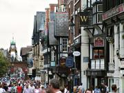 Street scene and Eastgate clock, Chester, Cheshire, England, photo