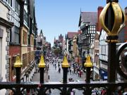 Street scene from Eastgate Clock, Chester, Cheshire, England, photo