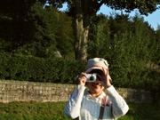Tomoko taking a photo, England, photo