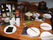 Hand-rolled sushi, Camping Barn, near Bakewell, Derbyshire, England, photo