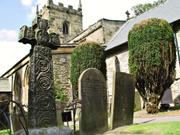 Celtic cross, Eyam Church, Derbyshire, England, photo