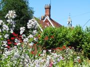 Schoolhouse and flowers, Ashdon, Essex, England, photo