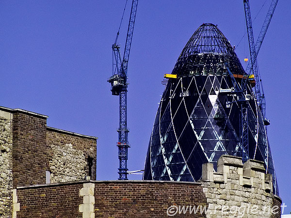 Gherkin and Tower of London, London, England, photo
