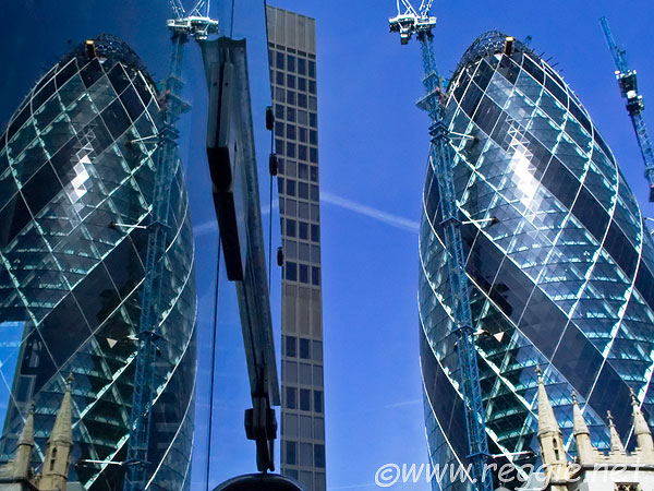 Gherkin and reflection, City, London, England, photo