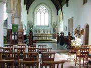 Church aisle, Kersey, Suffolk, England, photo
