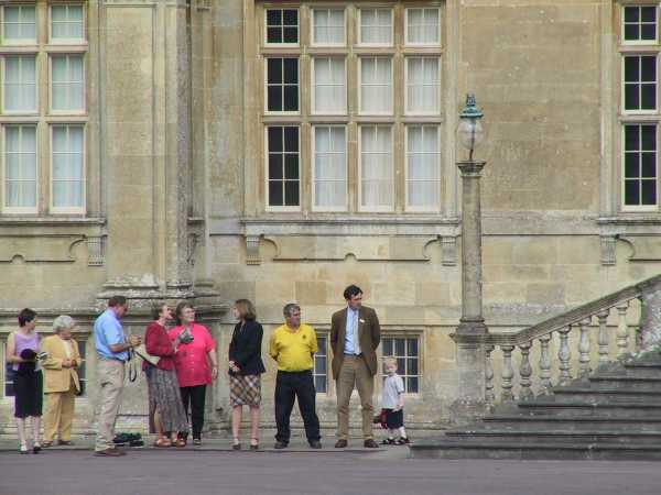Waiting by steps of Longleat with staff, photo