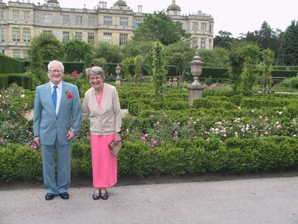 Mum and Dad by Orangery Garden Maze and Longleat House, photo