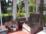 Dad\'s chair, conservatory, Parents\' garden, Lisburn, N. Ireland, photo