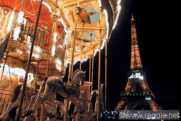 The Eiffel Tower and merrigoround, Paris, France, photo