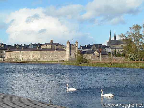 Castle, St Michael\'s Roman Catholic Church and swans, Enniskillen, Co. Fermanagh, N. Ireland, photo