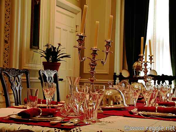 Dining table, Kylemore Abbey, Co. Galway, Ireland, photo