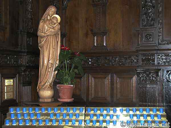 Electric candles and statue of Mary, Kylemore Abbey, Co. Galway, Ireland, photo