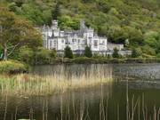 Kylemore Abbey and lake, Victorian gardens, Co. Galway, Ireland, photo