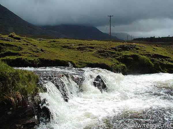Waterfall and clouds, near Lough Inagh, Connemara, Co. Galway, Ireland, photo