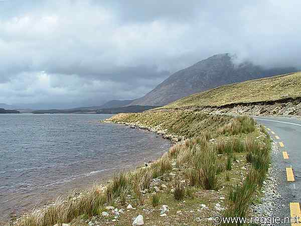 Lough Inagh and road, Connemara, Co. Galway, Ireland, photo