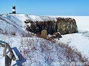 Lighthouse and ice floes, Cape Notoro, Abashiri, Hokkaido, Japan, photo